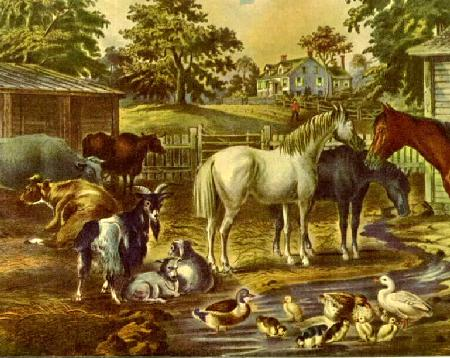 detail American Farmyard - Morning ©1867 Currier And Ives
