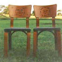 woodburned sun and moon chairs